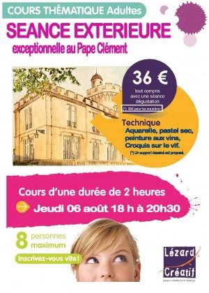Cours dessin aquarelle pastel croquis extérieur au Pape Clément avec dégustation des vins du Pape Clément