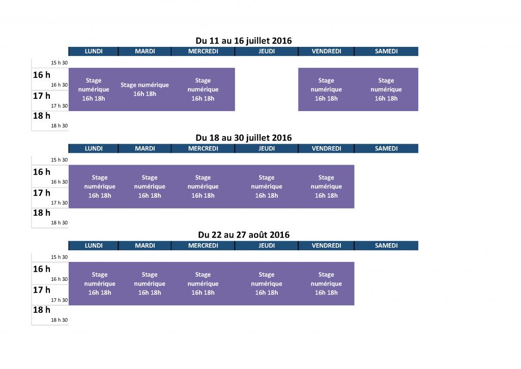 Programme ateliers juillet aout stage numerique